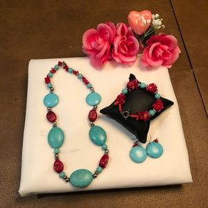 - coral and turquoise necklace Set